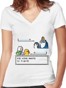 Adventure Time Pokemon Battle Women's Fitted V-Neck T-Shirt