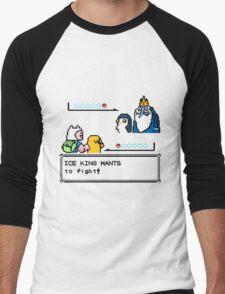 Adventure Time Pokemon Battle Men's Baseball ¾ T-Shirt