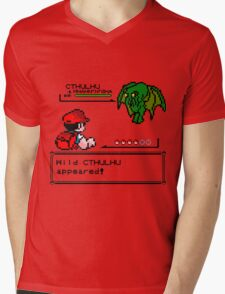 Cthulhu Pokemon Battle Mens V-Neck T-Shirt
