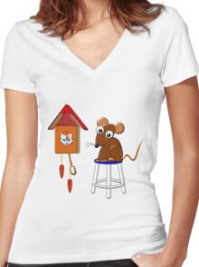 Hickory Dickory Cat ! Women's Fitted V-Neck T-Shirt