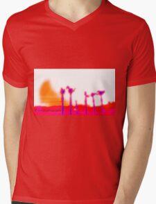 .Orange Crescent Mens V-Neck T-Shirt