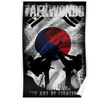 Taekwondo Mountain Fighter White Vintage 2 - Korean Martial Art  Poster