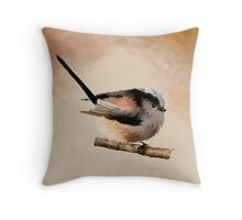 Long Tailed Tit - Bird Art Throw Pillow