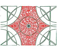 Green and Red Pattern Photographic Print