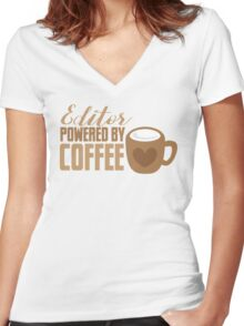 Editor powered by Coffee Women's Fitted V-Neck T-Shirt