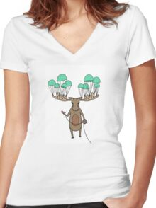 Parachuting Moose Women's Fitted V-Neck T-Shirt