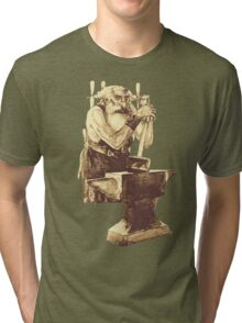 Fantasy Dwarf Blacksmith from Faeries Tri-blend T-Shirt