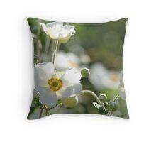 Sunlit Cottage Garden Flowers Throw Pillow