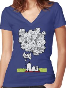 Snoopy Dreams Women's Fitted V-Neck T-Shirt