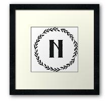 Monogram Wreath - N Framed Print