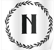 Monogram Wreath - N Poster