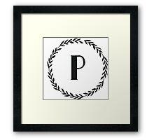 Monogram Wreath - P Framed Print