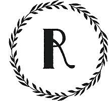 Monogram Wreath - R Photographic Print