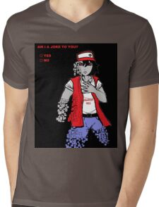 Am I A Joke To You? (Glitchy Red) Mens V-Neck T-Shirt