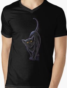 Animal Parade Black Cat Mens V-Neck T-Shirt
