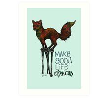 Flounce, the Fox on Stilts (Sky) Art Print