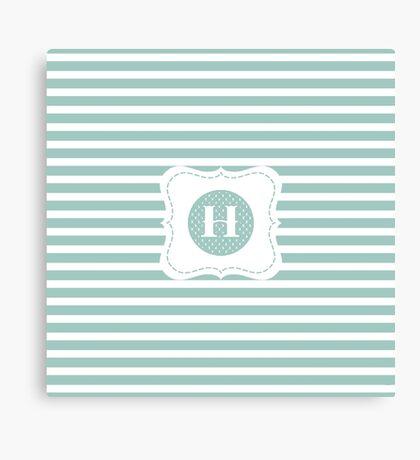 Striped Letter H Canvas Print
