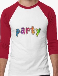 Party Word with Metal and Glass Effect Men's Baseball ¾ T-Shirt