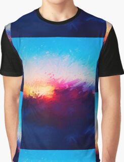 Sunset Warped Paint Effect Graphic T-Shirt