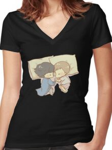 Sleeping Together Women's Fitted V-Neck T-Shirt