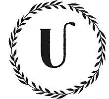 Monogram Wreath - U Photographic Print