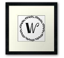 Monogram Wreath - W Framed Print