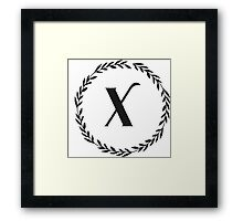 Monogram Wreath - X Framed Print