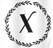 Monogram Wreath - X Poster