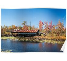 Old boat shed in Autumn Poster