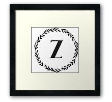Monogram Wreath - Z Framed Print