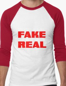 People are fake Pro Wrestling is real Men's Baseball ¾ T-Shirt