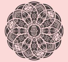 Hamsa Eye Lotus Mandala - Black One Piece - Short Sleeve