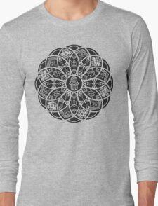 Hamsa Eye Lotus Mandala - Black Long Sleeve T-Shirt