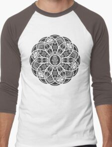 Hamsa Eye Lotus Mandala - Black Men's Baseball ¾ T-Shirt