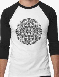 Hamsa Eye Lotus Mandala - Black Men's Baseball ¾ T-Shirt