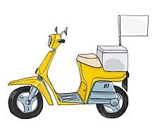 Yellow scooter delivery cute art illustration Photographic Print