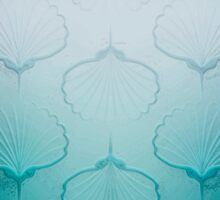 Blue sea geometric pattern texture on blurred background. Graphic illustration of seashells Sticker