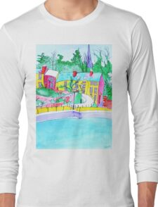 Colourful Painting of Exeter Quay Long Sleeve T-Shirt