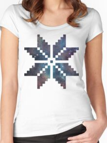 Nordic Pixel Snowflake Nebula Women's Fitted Scoop T-Shirt