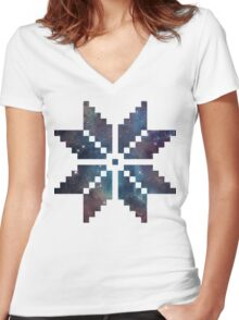 Nordic Pixel Snowflake Nebula Women's Fitted V-Neck T-Shirt