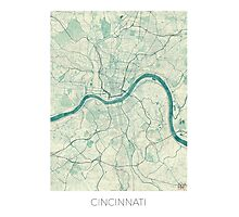Cincinnati Map Blue Vintage Photographic Print