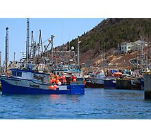 Fishing boats are moored in harbor ready for long weekend Photographic Print