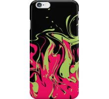 Bright pink and green colored splashes in abstract shape on black background iPhone Case/Skin