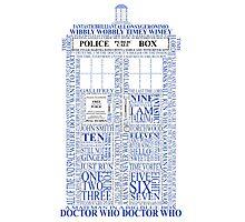 Doctor Who Typography Tardis Photographic Print