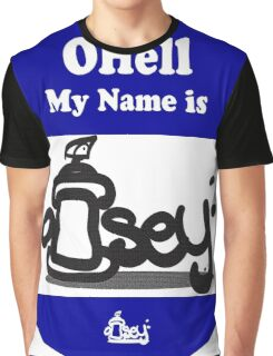 Ohell My Name Is graffiti sticker logo Blue Graphic T-Shirt