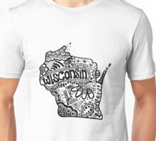Hipster Wisconsin State Zentangle Unisex T-Shirt