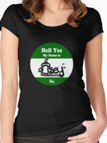 Hell Yes My Name Is graffiti sticker logo Green Women's Fitted Scoop T-Shirt