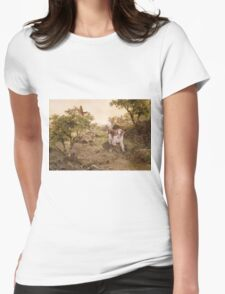 Welshie Springer Spaniel hunting pheasants Womens Fitted T-Shirt