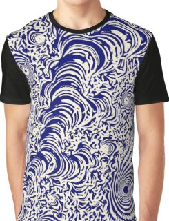 Blue Cream Fractal Ink Graphic T-Shirt