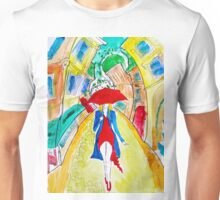 Abstract Woman in Red Unisex T-Shirt